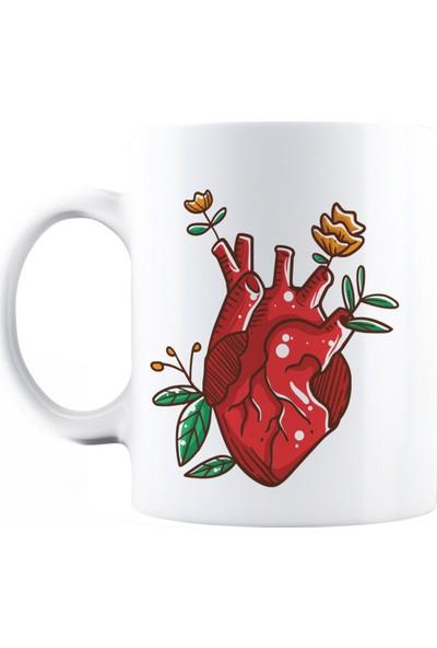 Baskimburada Beyaz Kupa Kişiye Özel Heart Rose BBKB00049