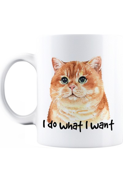 Baskimburada Beyaz Kupa Kişiye Özel Cat I Do What I Want BBKB00052