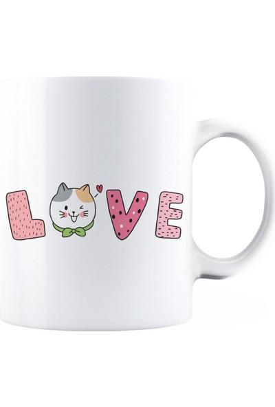 Baskimburada Beyaz Kupa Kişiye Özel Cat Love BBKB00063