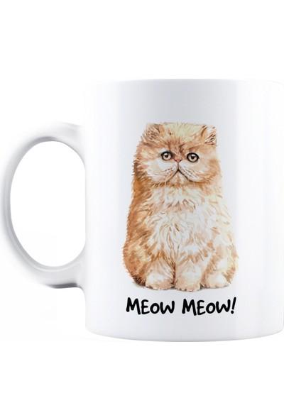 Baskimburada Beyaz Kupa Kişiye Özel Meow Cat BBKB00042