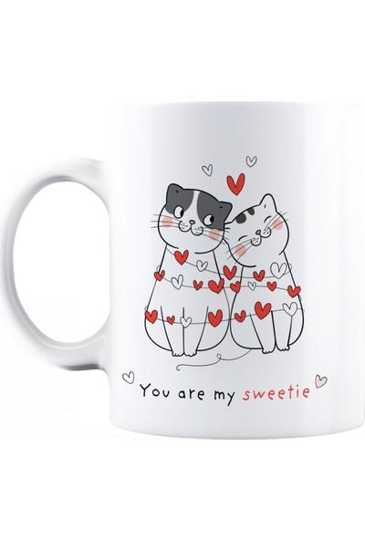 Baskimburada Beyaz Kupa Kişiye Özel Valentine's Cats BBKB00054