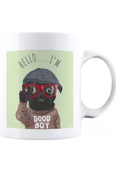 Baskimburada Beyaz Kupa Kişiye Özel Cartoon Dog Glasses Sweater BBKB00040