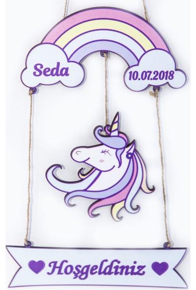 Meşgalem İsme Özel Unicorn Kız Bebek Ahşap Kapı Süsü