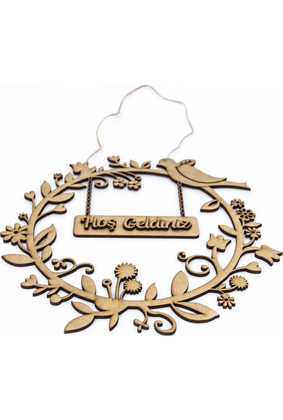 Meşgalem Ahşap Kapı Süsü Dekoratif İsme Özel Kuş Figürlü
