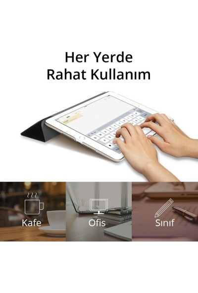 "Serhat Apple iPad Air 1 9.7"" Smart Case SlimFit Kılıf + Kalem + Sport Bluetooth Kulaklık + Şarj Kablosu A1474/A1475/A1476 Gri"