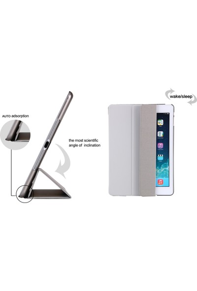 "Serhat Apple iPad Mini 2.Nesil 7.9"" Smart Case SlimFit Kılıf + Kalem + Sport Bluetooth Kulaklık + Şarj Kablosu A1489/A1490/A1491 Gri"