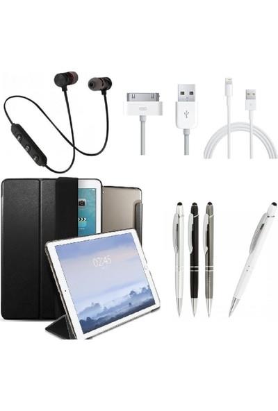 "Serhat Apple iPad Pro 10.5"" Smart Case SlimFit Kılıf + Kalem + Sport Bluetooth Kulaklık + Şarj Kablosu A1701/A1709/A1852 Gri"
