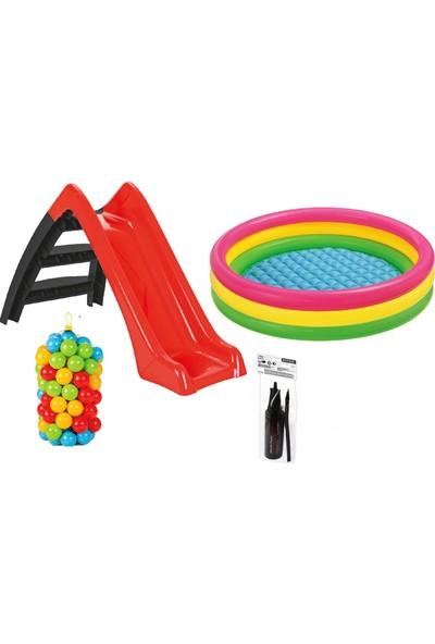 Kaydıraklı Oyun Seti (Sunset Havuz / 6 cm 100 ' lü Oyun Havuz Topu / Pompa / Kaydırak)