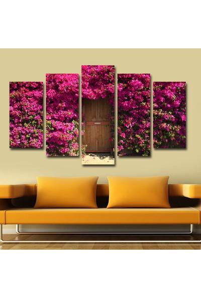 Pastel Tablo Mor Çiçek Kapı Dekoratif 5 Parça Mdf Tablo