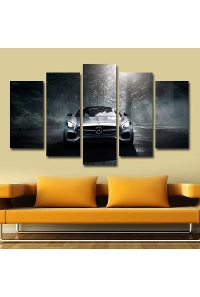 Pastel Tablo Siyah Araba Dekoratif 5 Parça Mdf Tablo