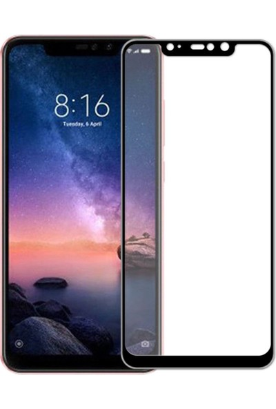 Vision Xiaomi Redmi Note 6 Pro 6D Tam Kaplayan Ekran Koruyucu Çerçeveli