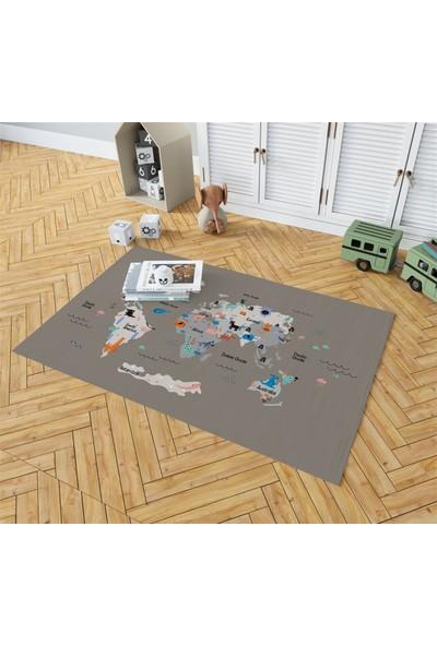 Evpanya Gri Dünya Haritası Desenli Çocuk Odası Halısı