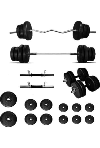 Borçinspor Halter-Dambıl Seti Z Barlı Ağırlık Seti Vücut Geliştirme Seti 58 kg