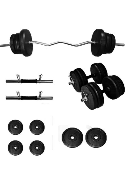 Borçinspor Z Bar Dambıl Seti Ağırlık Seti Vücut Geliştirme Seti 25 kg