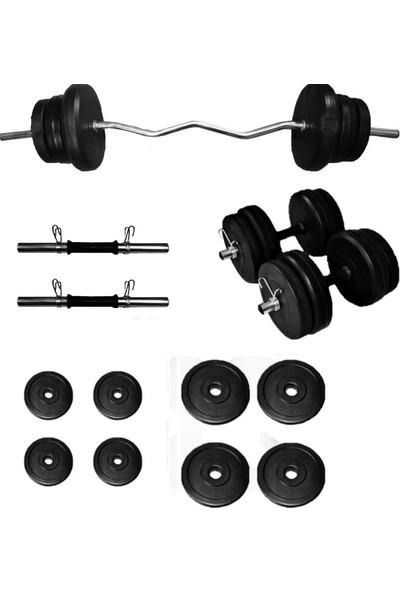 Borçinspor Z Bar-Dambıl Seti Ağırlık Seti Vücut Geliştirme Seti 35 kg