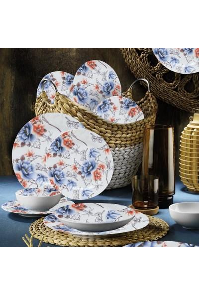 Kütahya Porselen 6 Kişilik Yemek Takımı Mavi Gül 24 Parça