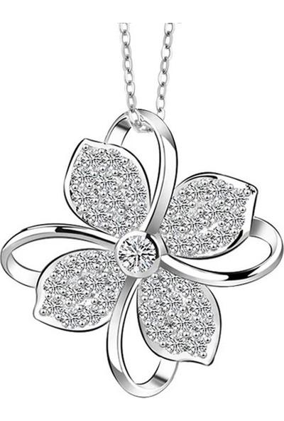 Enes Store Gümüş Dört Yapraklı Yonca Bayan Kolye