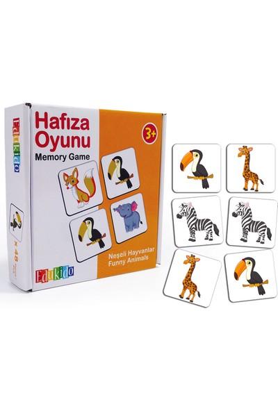 Edukido Eğitici Oyuncak Hafıza Oyunu Neşeli Hayvanlar Çocuk Kutu Oyun