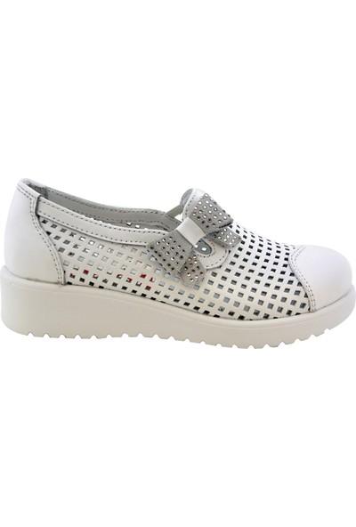Minipicco Kız Çocuk Beyaz Deri Ortopedik Ayakkabı