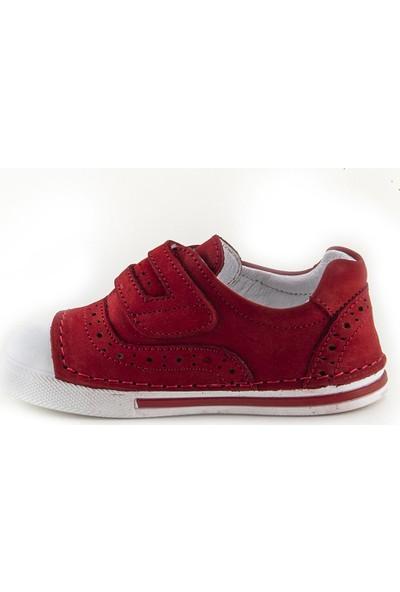 Minipicco Unisex Çocuk Kırmızı Deri Ortopedik İlk Adım Ayakkabı