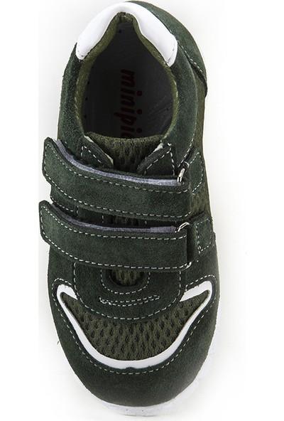 Minipicco Unisex Çocuk Haki Deri Ortopedik Ayakkabı