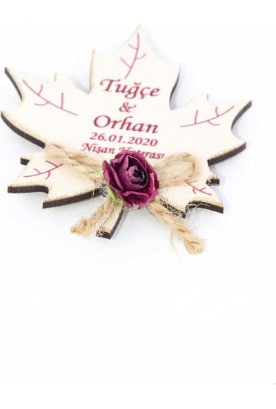 Meşgalem Ahşap Magnet Yaprak Figürlü Söz Nişan Nikah Kına Düğün Hatırası 50 Adet