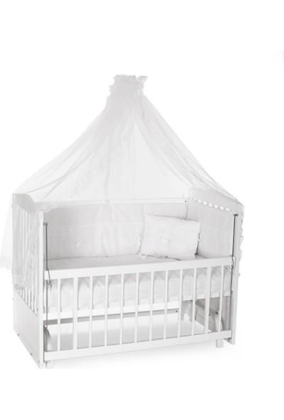 Heyner Ahşap Lake Beyaz Renk Anne Yanı Beşik 3 Kademeli Sallanan Ahşap Beşik 60 x 120 cm - Beyaz Güpürlü Uyku Setli & Soft Yataklı