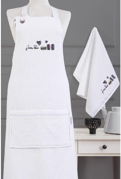 Marie Claire Mutfak Onlugu-Candıce %100 Pamuk Beyaz