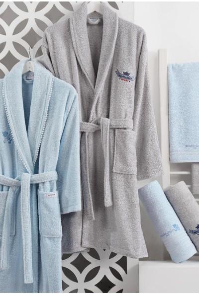 Marie Claire Aıle Bornoz Setı-Fabıola 100% Pamuk Mavi/Gri