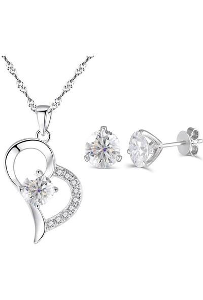Enes Store Kalp Kadın Kolye Küpe Gümüş Set