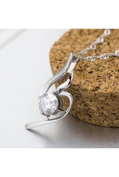 Enes Store Melek Kalbi Taşlı Kadın Kolye Küpe Gümüş Set