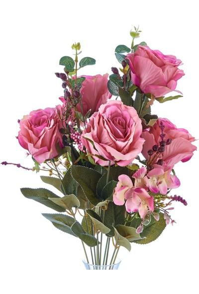 E-Flower Yapay Çiçek Gül Demeti - 11 Dal Pembe