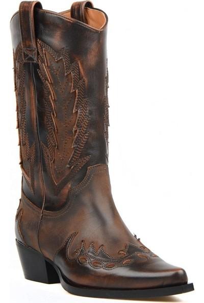 FootCourt Kahverengi Deri Kadın Kovboy Çizmesi