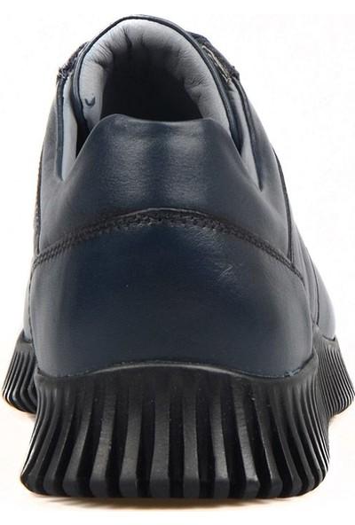 FootCourt Lacivert Deri Erkek Sneaker