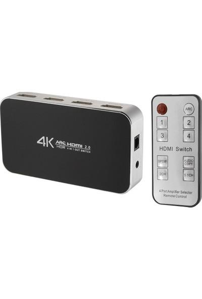Alfais 4441 4K HDMI 2.0 Çoklayıcı 4 Port Çoklayıcı Arc Switch Kumanda