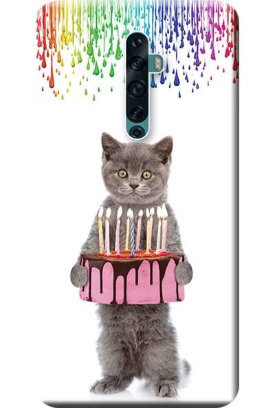 Kılıf Merkezi Oppo Reno 2Z Kılıf (CPH1945/CPH1951) Baskılı Silikon Doğum Günü Kedisi STK:467
