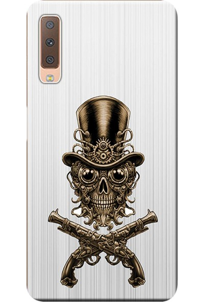 Kılıf Merkezi Samsung Galaxy A7 2018 Kılıf (SM-A750F) Baskılı Silikon Kurukafa Tasarım STK:579