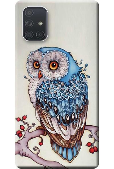 Kılıf Merkezi Samsung Galaxy A71 Kılıf (SM-A715F) Baskılı Silikon Baykuş STK:563