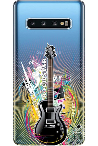 Kılıf Merkezi Samsung Galaxy S10 Kılıf (SM-G973F) Baskılı Silikon Rock Star STK:313