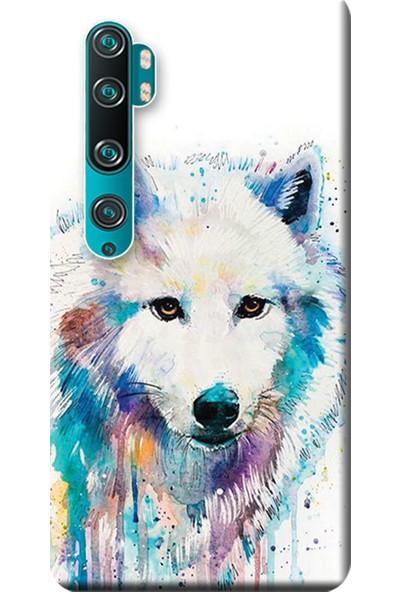 Kılıf Merkezi Xiaomi Mi Note 10 Pro Kılıf Baskılı Silikon Beyaz Kurt STK:487