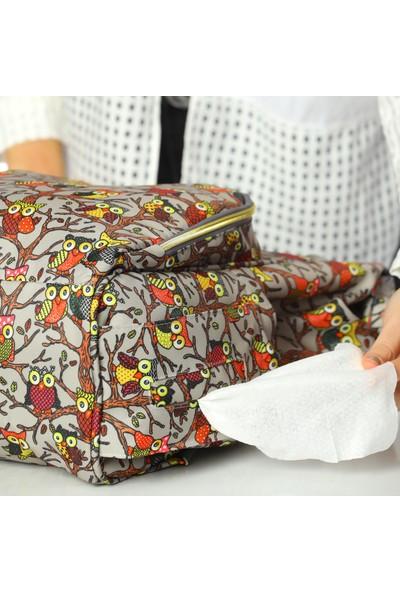 Lal Baby Baykuş Desenli Gri Anne Bebek Bakım Sırt Çantası