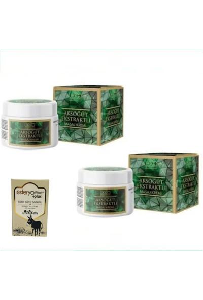 Ukko Cosmetics Aksöğüt Ekstraktlı Masaj Kremi 100 ml 2 Li Paket Ester Plus + Eşek Sütü Sabunu