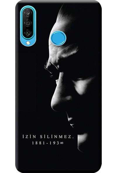 Kılıf Merkezi Huawei P30 Lite Kılıf Baskılı Silikon Atatürk İzin Silinmez STK:389