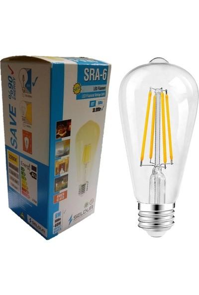 Seldur 6W LED Filament Vintage Ampul E27 Duy Gün Işığı