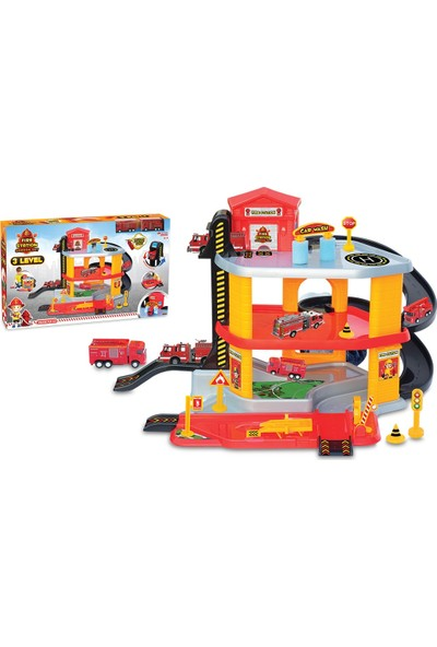 Dede Oyuncak İtfaiye Kamyonlu Otopark 3 Katlı Garaj Oyun Seti
