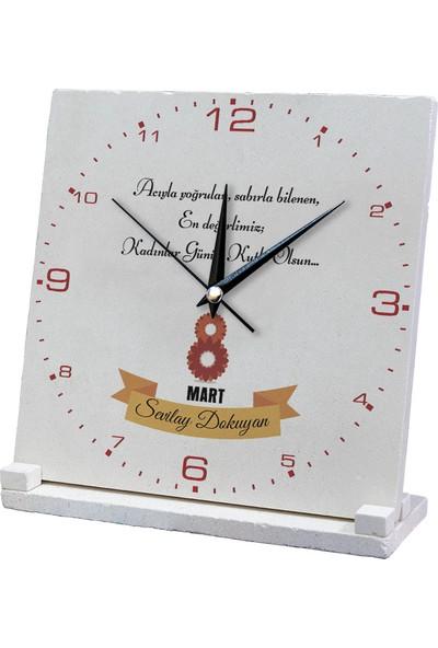 Kraftolye 8 Mart Kadınlar Gününe Özel Doğal Taş Saat 20 x 20 cm KS06-1368