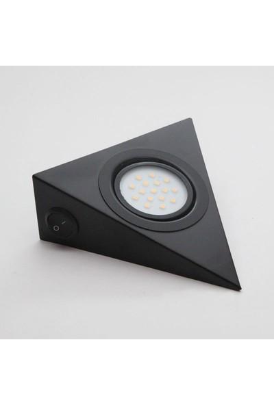 Bermax Dolap Altı Üçgen Spot Çoklu LED Siyah Renk Gün Işığı 3W