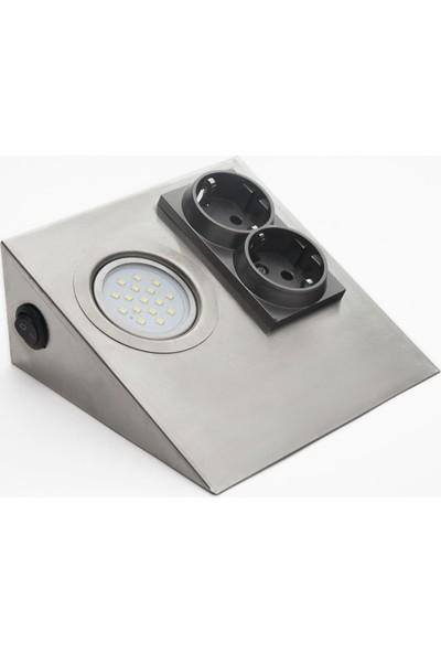 Bermax 2 Prizli LED Işıklı Tezgah Altı Aydınlatma Armatür Beyaz Inox 3W