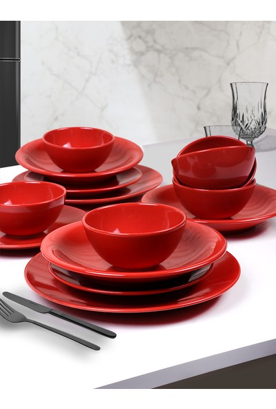 Keramika Kırmızı Ege Yemek Takımı 24 Parça 6 Kişilik