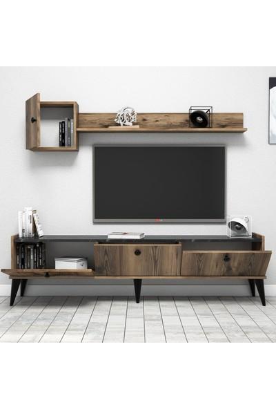Bimossa Lidya Modern Tv Ünitesi Duvar Raflı Ceviz - Mermer 180 cm